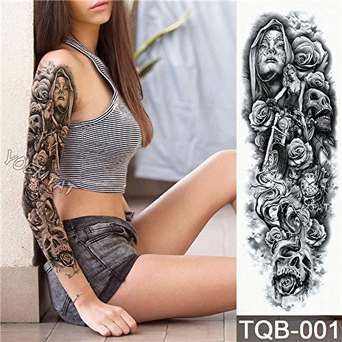 Handaxian 3pcsfull flower arm tattoo sticker angelo diavolo rose body paint water transport tattoo 3pcs-16