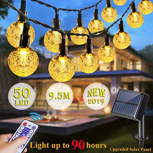 LED Solar Lichterkette Außen Kristallbälle Deko, LED Lichtsensor Warmweiß 50 Birnen 9M/Beleuchtung zeit 35~90h/Fernbedienung und Timer,Für Garten/Terrasse/Weihnachten/Hochzeiten/Partys/Innen/außen -