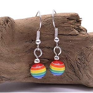 RAINBOW EARRINGS – 8mm Striped Acrylic Beads on Silver Tone Nickelfree Hooks – LGBT Pride