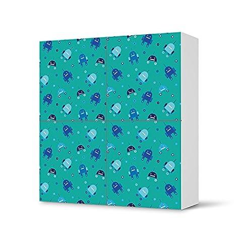 Möbel-Tattoo für IKEA Besta Schrank Quadratisch 4 Türen   Sticker Dekorfolien Möbel-Sticker Folie   Einrichtung umgestalten Dekor   Design Motiv Robots - Blau
