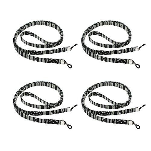 D DOLITY 4 Stück Brillenbänder/Brillenketten - Nylon Lesen Brillen/Sonnenbrillen Trageriemen - Brillen - Schwarz und weiß