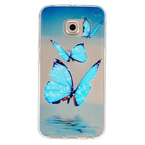 Preisvergleich Produktbild Taschen Schale für Sumsung Galaxy S6 edge Hülle KSHOP Weiche TPU Silikon Crystal Case Schutzhülle schlank Durchsichtig Anti Finger kratzfeste - Blue Butterfly
