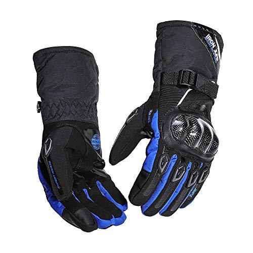 ETYGYH Gants De Moto, Écran Tactile Hiver Chaud Gants Imperméables Anti-Chute Chevalier Racing Gants,Blue,XL