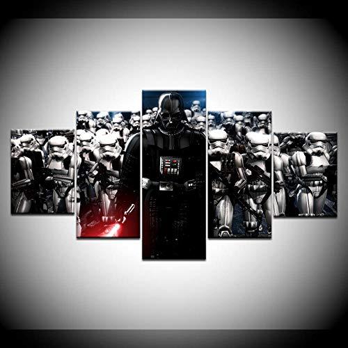 VENDISART,Leinwanddrucke,Modulare Wandkunst Wandaufkleber,5 Teiliges Wandbild,Star War Darth Vader Helm Film,Mit Rahmen,Größe:M/B=150Cm,H=80Cm