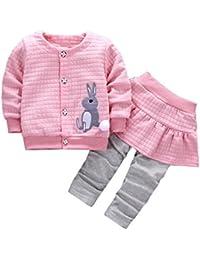 PinkLu Conjunto De 2 Piezas De AlgodóN Infantil Conejo AlgodóN + PantalóN De Bebé Infantil con Estampado De Conejo para NiñAs Abrigo + Pantalones Trajes Conjunto De Ropa