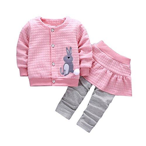 MEIbax 2 Stücke Infant Kleinkind Baby Mädchen Kaninchen Print Tops Langarm Shirt Sweatshirts Pullover + Hosen Outfits Kleidung Set