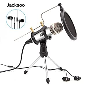 jacksoo home studio micro condensateur avec couteurs oreillettes pied de micro pour. Black Bedroom Furniture Sets. Home Design Ideas