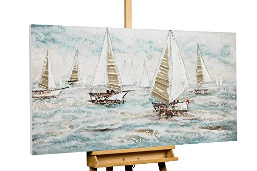 KunstLoft® Acryl Gemälde 'Sailboat Racing' 140x70cm   original handgemalte Leinwand Bilder XXL   Segeln Meer Blau Boot Schiff Wasser   Wandbild Acrylbild Moderne Kunst einteilig mit Rahmen (Racing Wandbild)