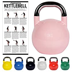 Kettlebell Competition 8 kg   Professional Studio Qualität   inkl. Übungsposter   Wettkampf Kugelhantel