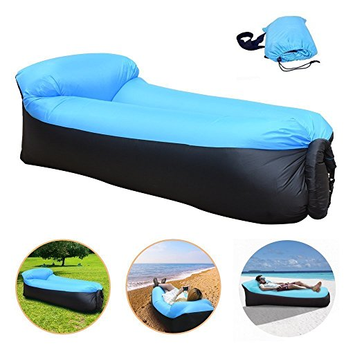 CAIGOGOO Sofa Hinchable, Impermeable Portátil Ligero Poliéster Aire Sofá con Almohada Integrada,Aire Cama Tumbona de Camping, Parque, Playa, Patio Trasero (blue)