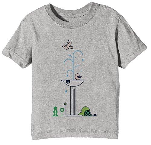 Stadt Vögel Kinder Unisex Jungen Mädchen T-Shirt Rundhals Grau Kurzarm Größe XS Kids Boys Girls Grey X-Small Size XS