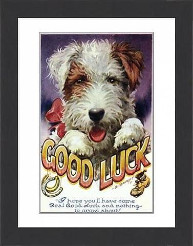 Framed Print Of Dog Good Luck Card