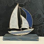Scultura Moderna Decorativa in Spago Animato kraft, carta di riso e carta fantasia, Barca a vela