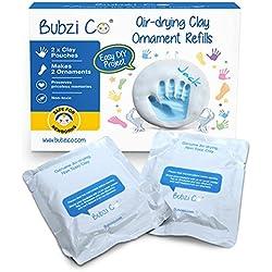 Bubzi Co 2X Repuestos de Arcilla Blanca para decoración de Huellas de bebé – Pasta para modelar Tipo Arcilla de Secado al Aire – Recuerdos memorables – Ideal para decoración o Regalo de Baby Shower
