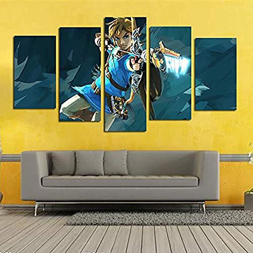 5 Paneles Arte Leyenda Zelda Gaming Cuadros En Lienzo