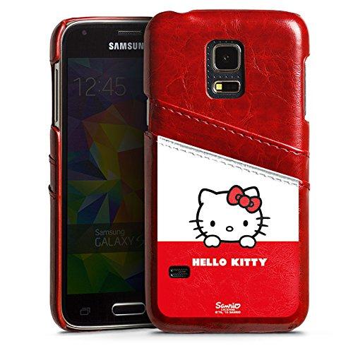 Samsung Galaxy S5 mini Lederhülle Leder Case mit Schlitz für Kreditkarte Brieftaschen Cover Hello Kitty Merchandise Fanartikel Cute Kawaii