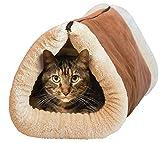NANIH PetSuppliesMisc 2 in 1 Tube Katzenmatte und Bett Kleines Haustierbett Tunnel Fleece Indoor-Kissenmatte Wattepad für Hundewelpen Kätzchen Kitty Kennel Crate Cage Shack Haus Brown Pet Favoriten fü