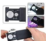Glass Magnifier eye - Illuminated Lente di ingrandimento 30x dual - 21mm e 60 x - 12 mm con LED - microscopio rivelatore Ideale Loupe Gioiellieri o moneta tasca con lampada