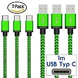 Coverlounge - Nylon USB Typ C Kabel [3-Pack] / Datenkabel/Ladekabel [2.1 A] kompatibel für alle Samsung Smartphones mit USB Typ C Anschluss | Farbe: grün | Länge: 1 Meter / 1m