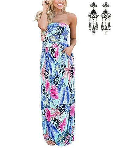 Modetrend Womens Flower Print Bustier Long Dress Banquet Summer Beach Casual Holiday (X-Large, Multicoloured