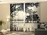 Wellmira Fotogardine, Flächenvorhang, Fotodruck, Schiebevorhang, Bedruckte Schiebegardinen, Gardine mit Motiv, auf Maß (4 x 275x70)