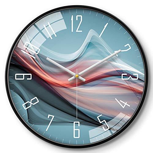 YTRGED Orologio da Parete in Metallo Vetro Muto Tempo di Camminata puntatore preciso Chiaro Soggiorno Studio Ufficio Camera da letto-14 Pollici_ Scatola N