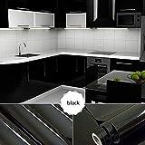 [2 Rollen] KINLO 61cm x 5m Hochglanz Selbstklebend Küchenschrank-Aufkleber Küchenfolie Refurbished Küchenschränke Kleiderschrank PVC Aufkleber Folie Möbel Schrank Tür Papier für Wandplakate - Schwarz