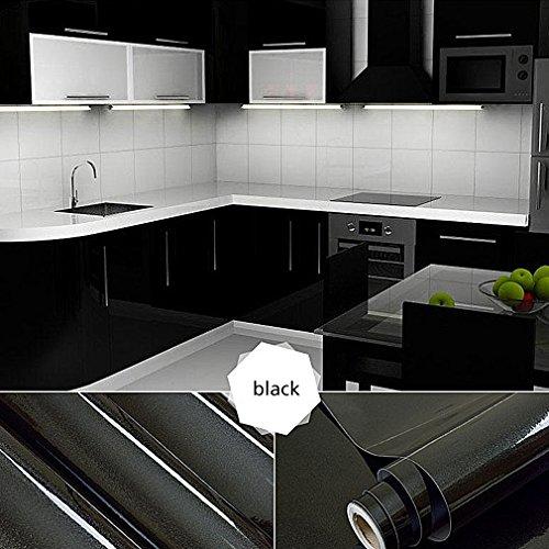 [2 Rollen] Auralum 61cm x 5m Hochglanz Selbstklebend Küchenschrank-Aufkleber Küchenfolie Refurbished Küchenschränke Kleiderschrank PVC Aufkleber Folie Möbel Schrank Tür Papier für Wandplakate - Schwarz (Papier-möbel)
