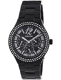 Police GLITZ - Reloj de cuarzo para mujer, correa de acero inoxidable color negro