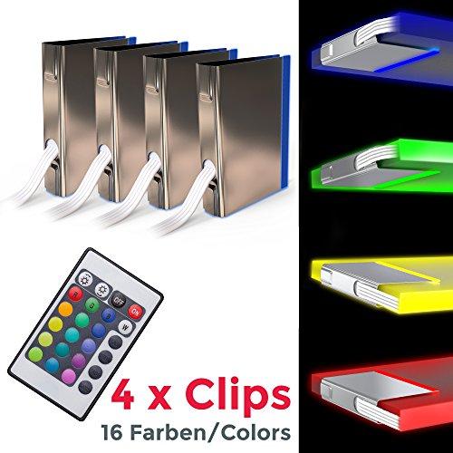 B.K.Licht LED Glasbodenbeleuchtung 4er Set LED Clips LED Vitrinenbeleuchtung Schrankbeleuchtung inkl. Fernbedienung RGB Funktion farbwechsel (8 4 Licht Hängen)