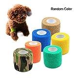 Pawaca Vendaje para mascotas, autoadhesivo, vendaje elástico fuerte elástico deportivo médico suministros para mascotas elástico cinturón elástico, Small