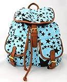 Señoras estrella lona, morral, bolso de escuela, azul
