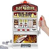 Monsterzeug Glücksspiel Automat Einarmiger Bandit, Slot Machine. Geldspielautomat mit Lichtern, XXL Glücksspielautomat, Casino Automat mit Soundeffekten, Spardose, Spielmünzen