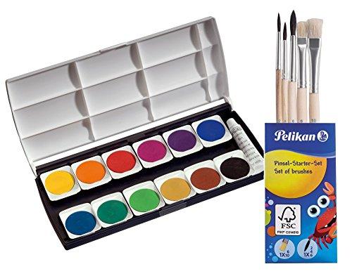 Herlitz 10116655 Schulmalfarben bzw. Deckfarbkasten, 12 Farben inklusive Deckweiß (mit Pinsel Starterset, Deckfarbkasten)