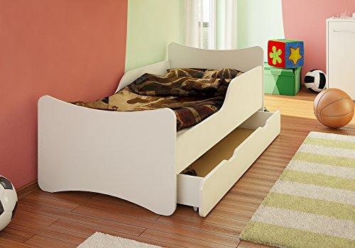 BEST FOR KIDS CAMA INFANTIL CON CAJON Y COLCHON  TÜV CERTIFICADO  EN BLANCO TALLA:70 X 140