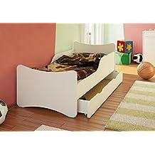 Best For Kids cama infantil con cajón y colchón, TÜV certificado, en blanco