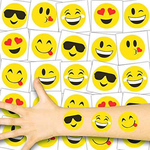 German Trendseller® 36 x Emoji Kinder Tattoos - Set - Kinder - Party ┃ Kindergeburtstag ┃ Mitgebsel ┃ Tattoos - Mit Lustigen Gesichtern