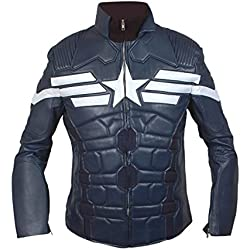 Leatherly Chaqueta de hombre Captain America 2014 The Winter Soldier Motorbike Cuero Chaqueta- L