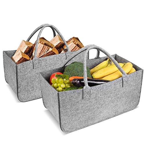 Homfa 2 x borsa portalegna camino legno borsa in feltro, cesto da spese per legna da caminetto e giornali cesto portariviste 49 x 26 x 26cm (grigio), carico fino a 15kg