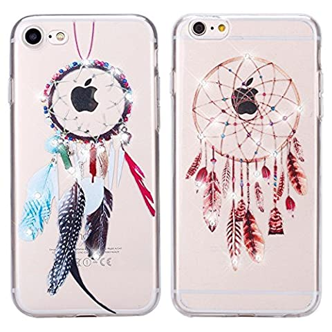iPhone SE Case, iPhone 5 5S Case, Sunroyal 2 Pieces Transparent Bling Crystal Clear Beautiful Dreamcatcher Pattern Printed Flexible Soft TPU Scratch-Resistant Thin-Fit Premium Anti-Slip Shockproof Absorption Cute Protective Cover for iPhone 5 5S
