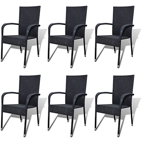 Festnight 6er-Set Gartenstühle Essgruppe Stühle aus Poly-Rattan Gartenstuhl-Set Gartensitzgruppe...