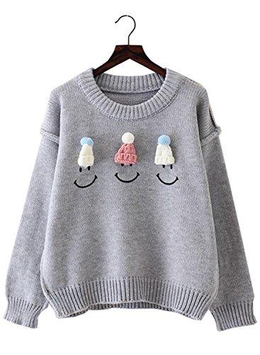 Futurino Damen Pom Pom Hut Und Smiley Gesicht Langarm Strick Pullover
