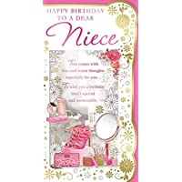"""Cards Galore Online Niece Birthday Card - Pink High Heels, Mobile Phone, Make Up & Roses 9"""" x 4.75"""""""