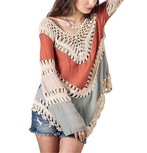 Lose Bademode (Hippolo Damen Langarm aushöhlen Hand Haken Blume Kittel Strand Farbe passenden Frauen Pullover (Orange))
