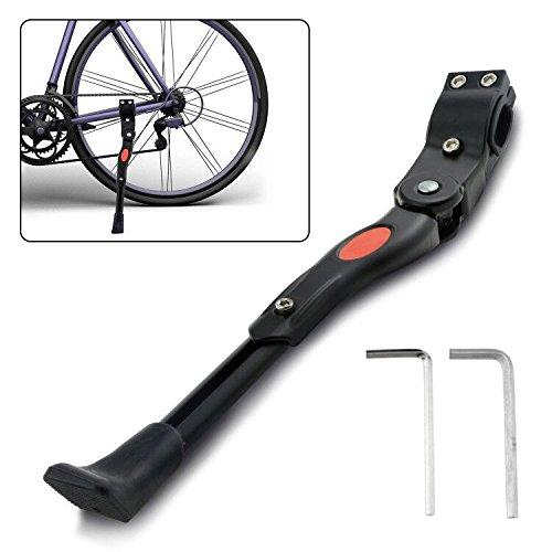 Emooqi Fahrradständer, Anti-Rutsch Gummifuß Aluminiumlegierung Seitenständer Fahrrad Ständer Einstellbarer Universal Hinterbauständer für 24-29 Zoll Mountainbike, Rennrad, Fahrräder, Klapprad, Rennrad und Faltrad