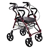 Rollator in Alluminio, Deambulatore Regolabile con Sedile per Pazienti Anziani, Portatori di Handicap, Mobilità Limitata, Stabilizzatore A Piedi con Quattro Ruote