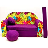 Welox Kindersofa Bettfunktion 3in1 - Kindersessel, Ausziehbett, violett Puzzle