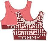 Tommy Hilfiger Mädchen Bustier 2P Bralette Heart Print, 2er Pack, Rosa (Rhubarb/Claret Red 043), 176 (Herstellergröße: 14-16)