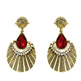 Donna Fashion Red Drop Round Gold Plated...