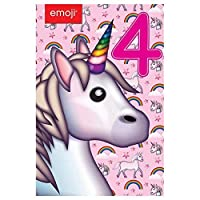Gemma International 260809 4th Birthday Emoji Unicorn Birthday Card